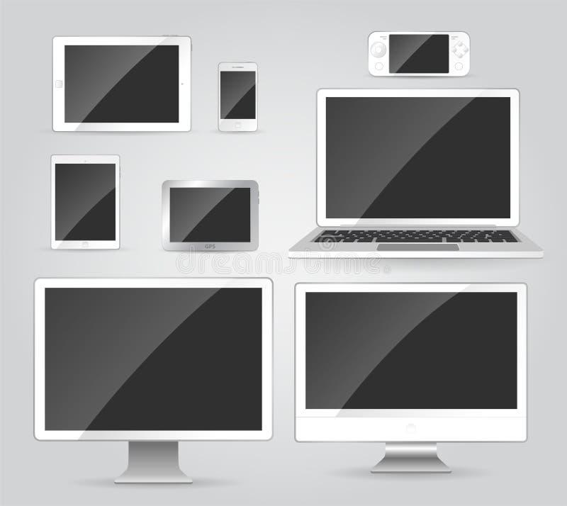 电子设备-现代传染媒介反对被隔绝的剪贴美术 向量例证