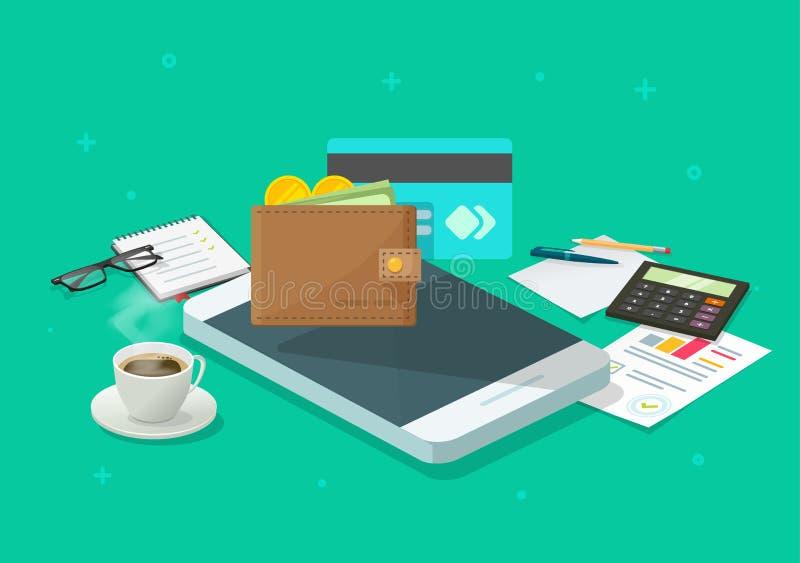 电子货币审计通过手机或手机传染媒介象、平的动画片智能手机和现金收入研究或者 向量例证