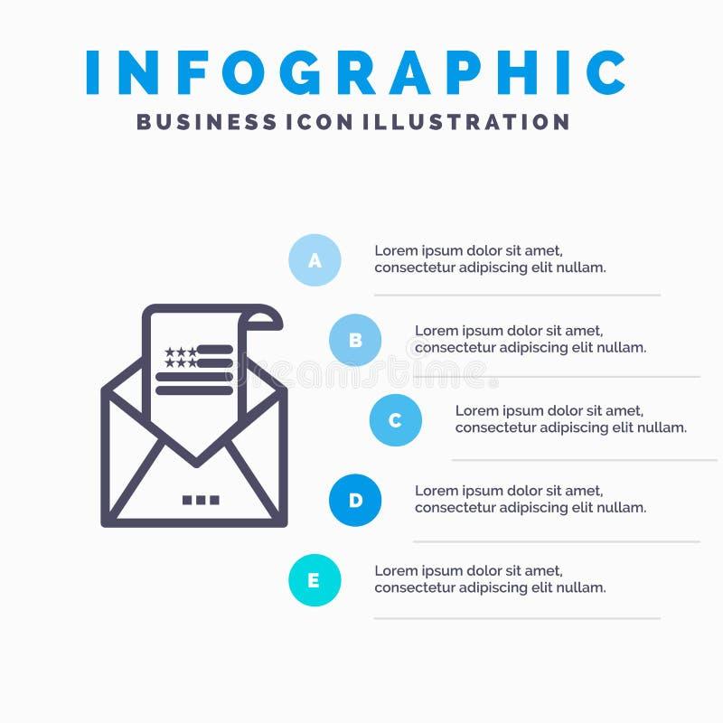 电子邮件、信封、问候语、邀请、邮件行图标,包含5个步骤的演示信息图形背景 库存例证