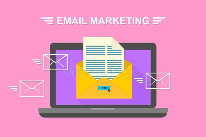 电子邮件、电子邮件营销、互联网广告的概念和数字式营销 设计例证股票您使用的向量 皇族释放例证