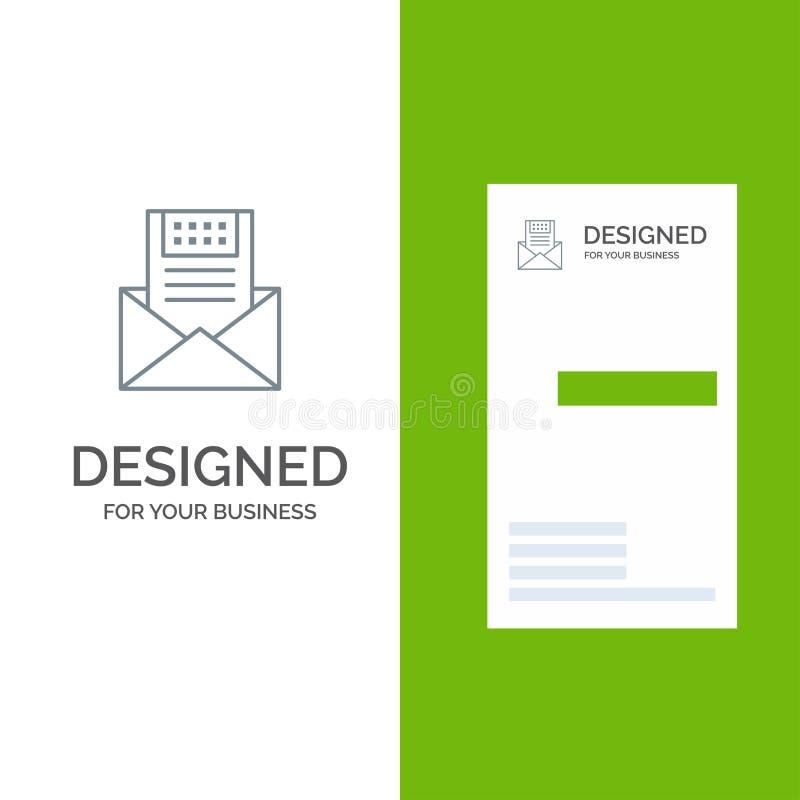 电子邮件、通信、电子邮件、信封、信件、邮件、消息灰色商标设计和名片模板 向量例证