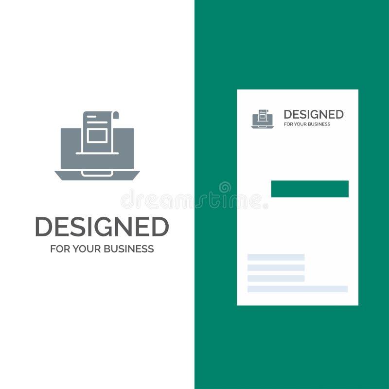 电子邮件、通信、电子邮件、信封、信件、邮件、消息灰色商标设计和名片模板 库存例证