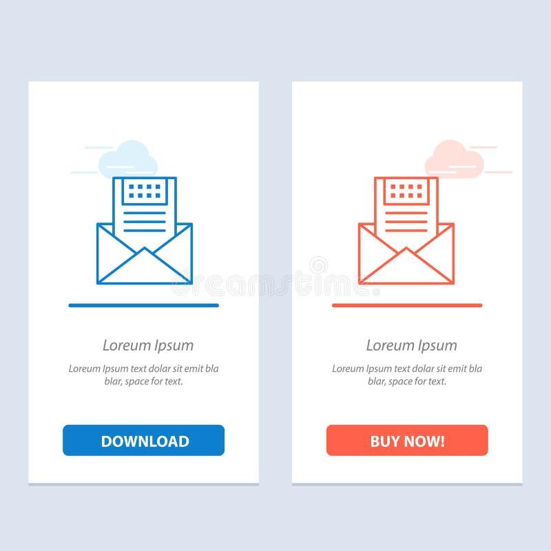 电子邮件、通信、电子邮件、信封、信件、邮件、消息蓝色和红色下载和现在买网装饰物卡片模板 库存例证