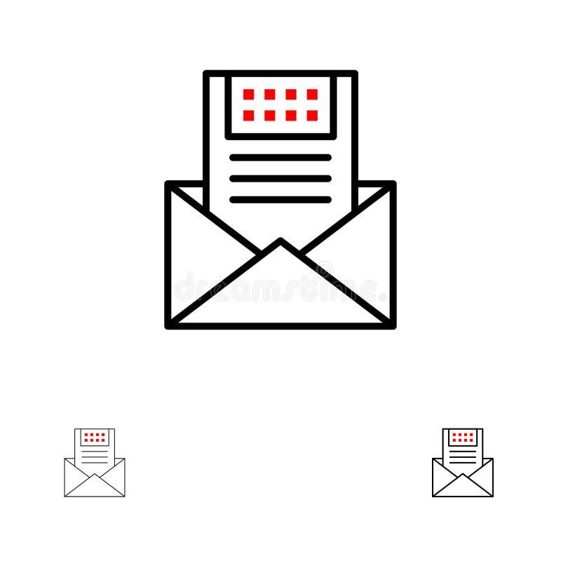 电子邮件、通信、电子邮件、信封、信件、邮件,消息大胆和稀薄的黑线象集合 向量例证