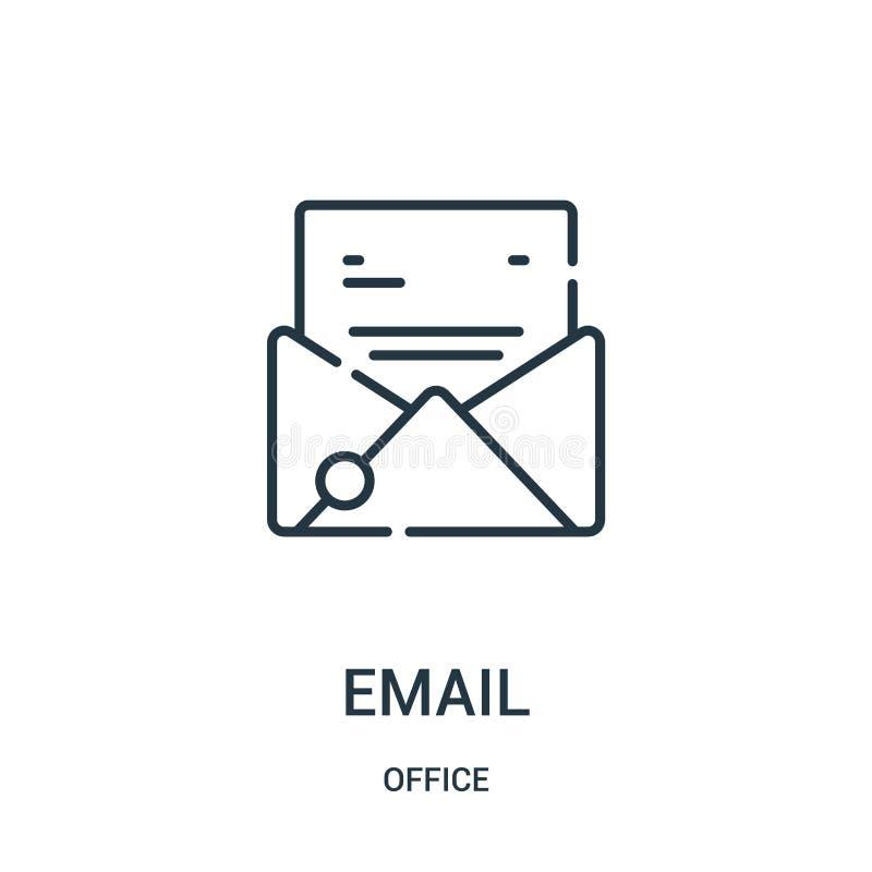 电子邮件从办公室汇集的象传染媒介 稀薄的线电子邮件概述象传染媒介例证 向量例证