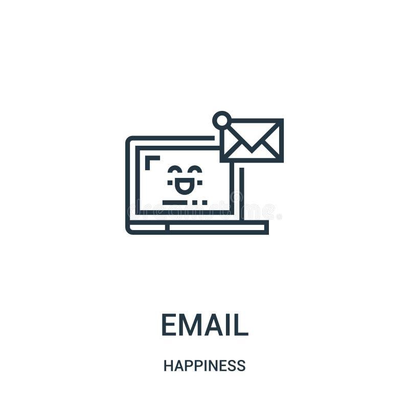 电子邮件从幸福汇集的象传染媒介 稀薄的线电子邮件概述象传染媒介例证 线性标志为在网的使用和 皇族释放例证