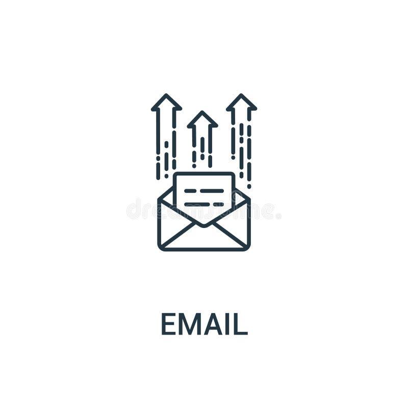 电子邮件从广告汇集的象传染媒介 稀薄的线电子邮件概述象传染媒介例证 线性标志为在网和机动性的使用 向量例证