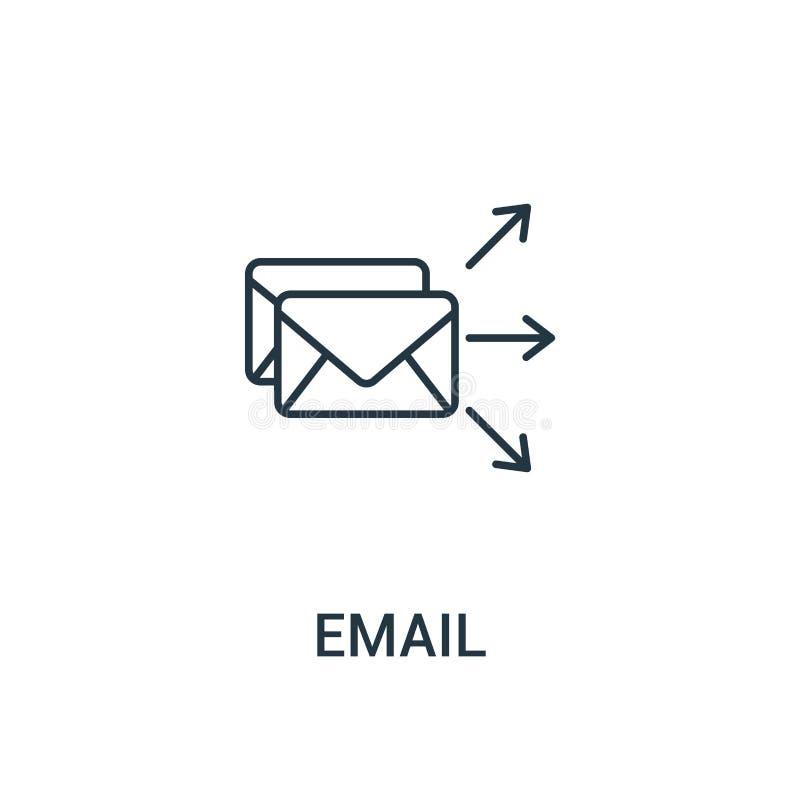 电子邮件从广告汇集的象传染媒介 稀薄的线电子邮件概述象传染媒介例证 线性标志为在网和机动性的使用 皇族释放例证