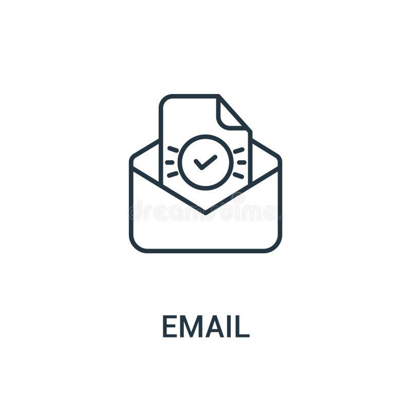 电子邮件从广告汇集的象传染媒介 稀薄的线电子邮件概述象传染媒介例证 线性标志为在网和机动性的使用 库存例证