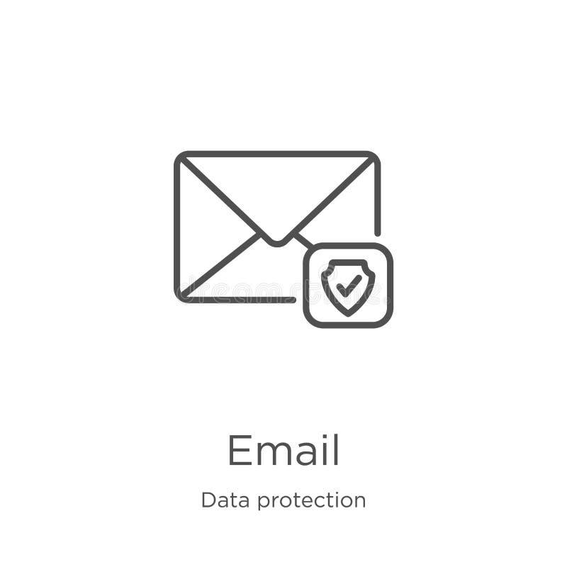 电子邮件从数据保护汇集的象传染媒介 r 概述,稀薄的线电子邮件象 库存例证