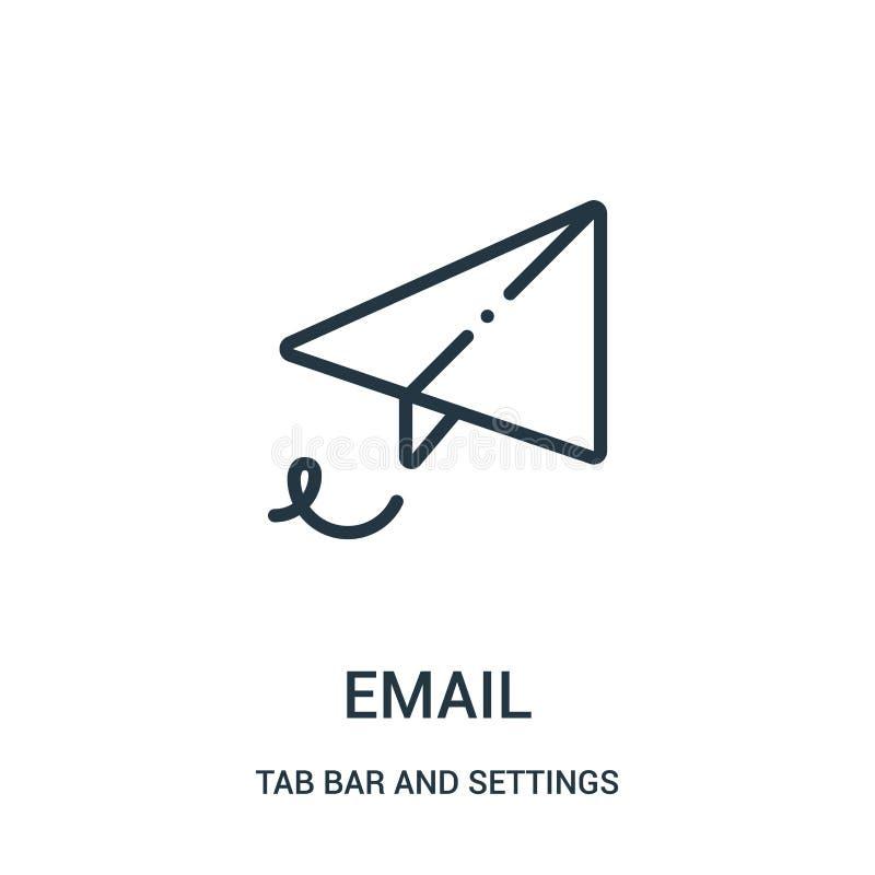 电子邮件从选项酒吧和设置汇集的象传染媒介 稀薄的线电子邮件概述象传染媒介例证 向量例证