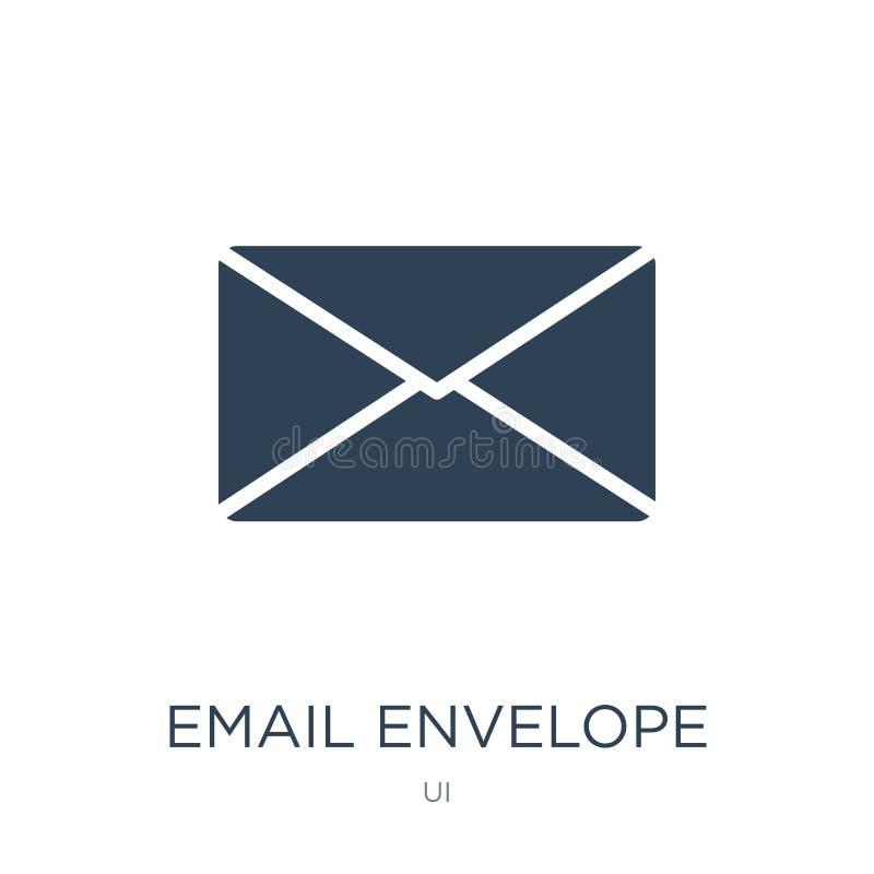 电子邮件信封在时髦设计样式的按钮象 电子邮件信封在白色背景隔绝的按钮象 电子邮件信封按钮 库存例证