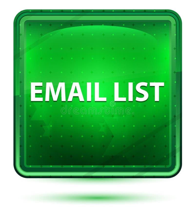 电子邮件名单霓虹浅绿色的方形的按钮 向量例证