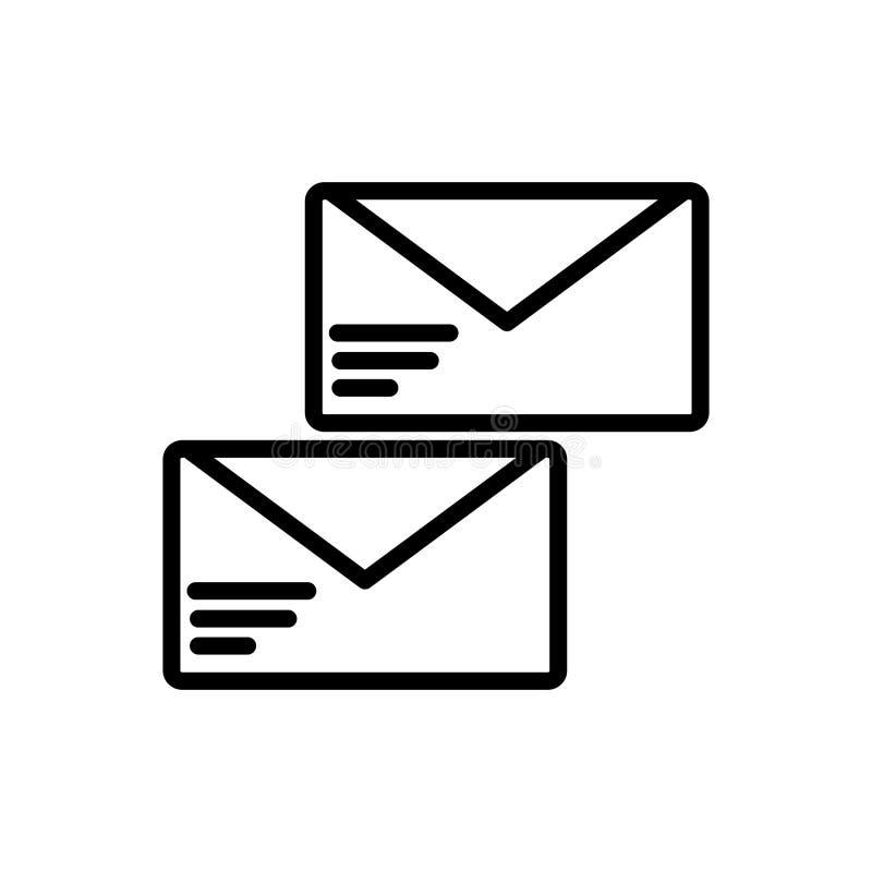 电子邮件在白色背景隔绝的象传染媒介,给在线性样式的标志、线和概述元素发电子邮件 向量例证