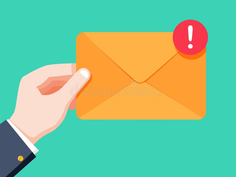 电子邮件概念 新,传入的消息, sms 拿着信封,信件的手 消息, sms交付  向量例证