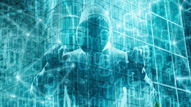 电子邮件由特洛伊病毒,在数字变革概念的cybersecurity乱砍 皇族释放例证