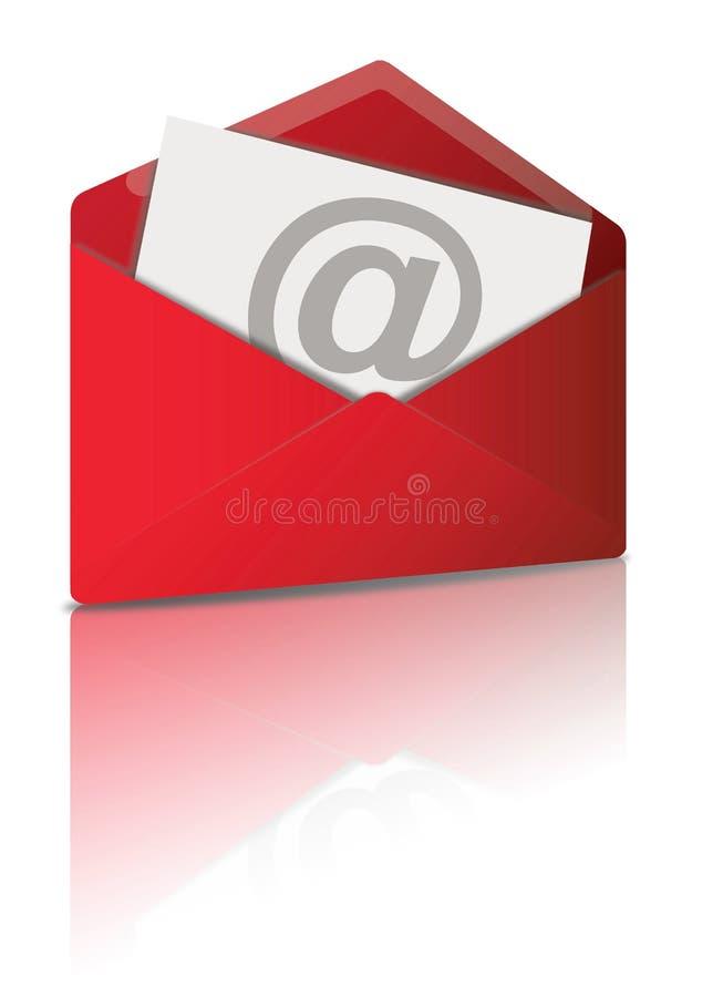 电子邮件红色符号 皇族释放例证