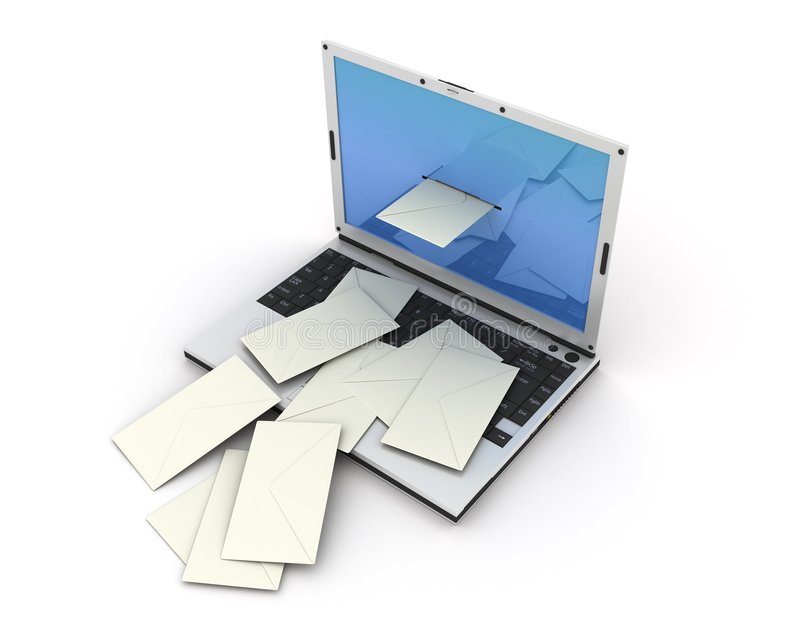 电子邮件膝上型计算机 库存例证