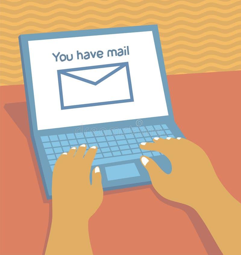 电子邮件膝上型计算机 向量例证