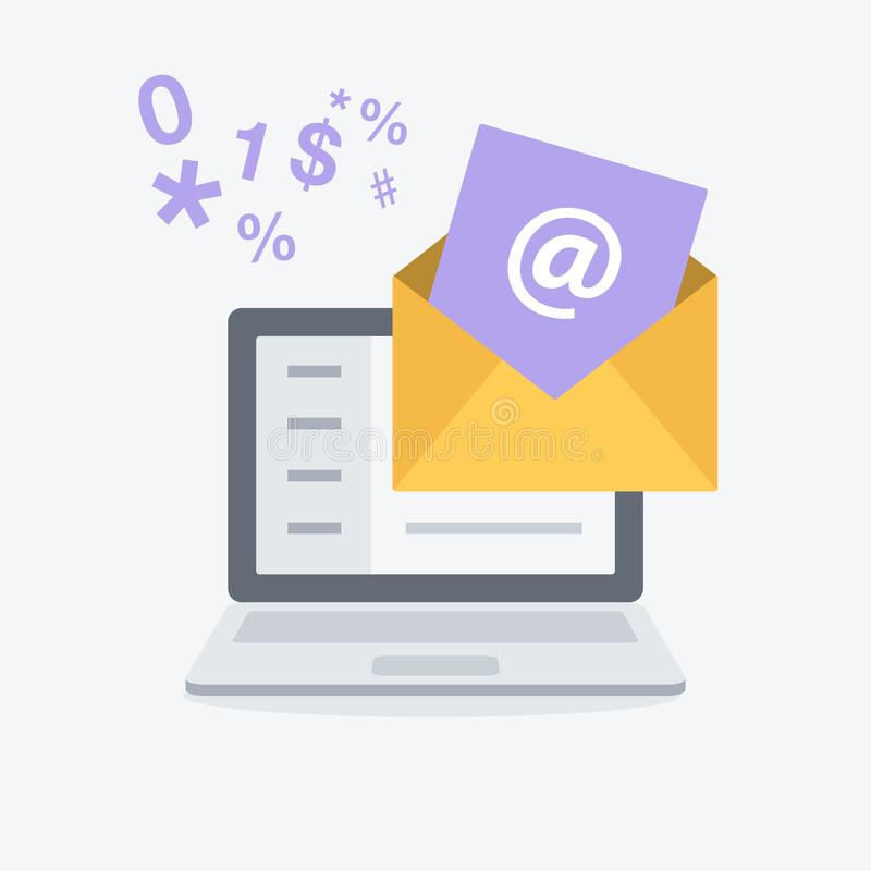 电子邮件营销和通信简单的平的标志与计算机和信封 皇族释放例证