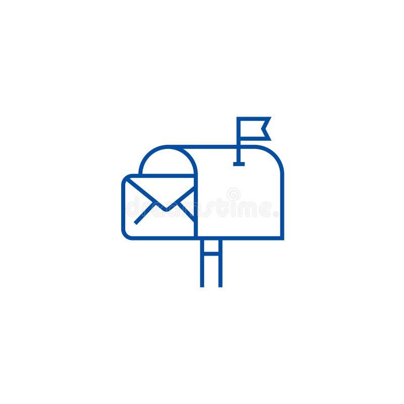 电子邮件营销线象概念 销售平的传染媒介标志,标志,概述例证的电子邮件 皇族释放例证