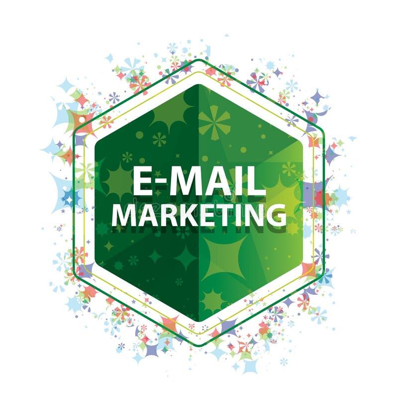 电子邮件营销花卉植物样式绿色六角形按钮 库存照片