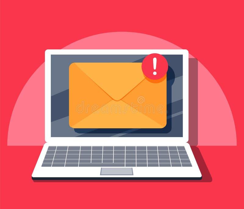 电子邮件通知概念 在膝上型计算机屏幕上的新的电子邮件 在平的样式的传染媒介例证 皇族释放例证