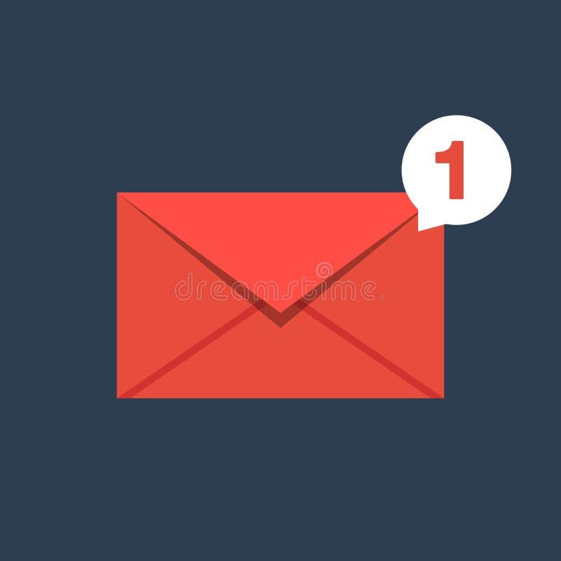 电子邮件通知的概念 在红色盖子的信件 r r 库存例证
