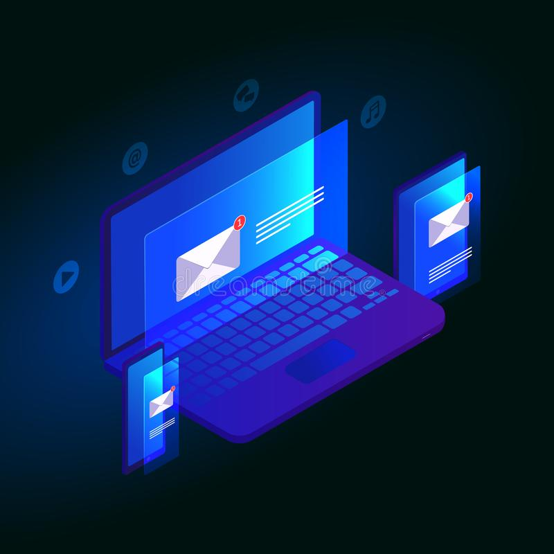电子邮件通知等量3D传染媒介设计观念 通信,情报传播,象-音乐,谈话,录影,送 向量例证