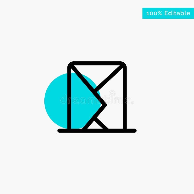 电子邮件,信封,邮件,信息,传送绿松石聚焦圈子点传染媒介象 向量例证