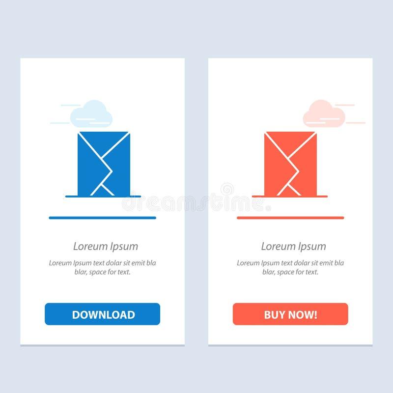 电子邮件,信封,邮件,信息,传送蓝色和红色下载和现在买网装饰物卡片模板 库存例证