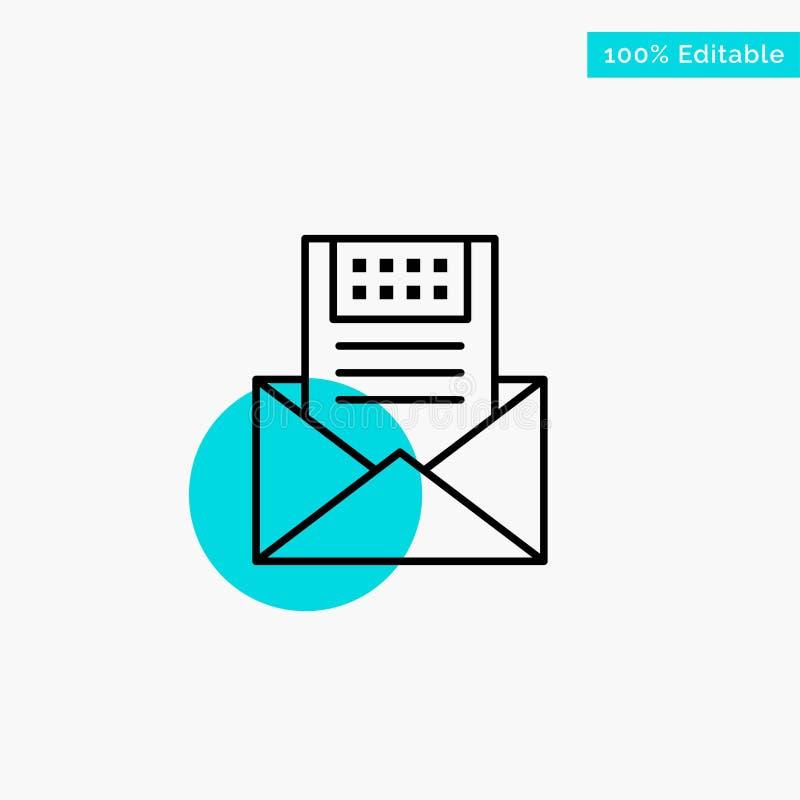 电子邮件,通信,电子邮件,信封,信件,邮件,消息绿松石聚焦圈子点传染媒介象 向量例证