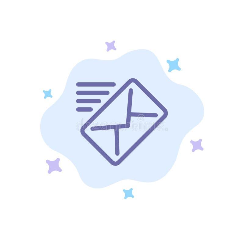 电子邮件,邮件,信息,传送在抽象云彩背景的蓝色象 库存例证