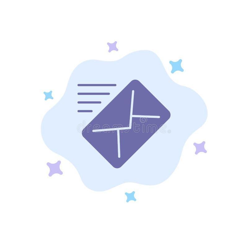 电子邮件,邮件,信息,传送在抽象云彩背景的蓝色象 向量例证