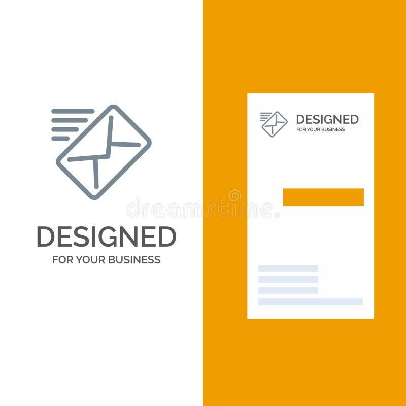 电子邮件,邮件,信息,传送灰色商标设计和名片模板 库存例证