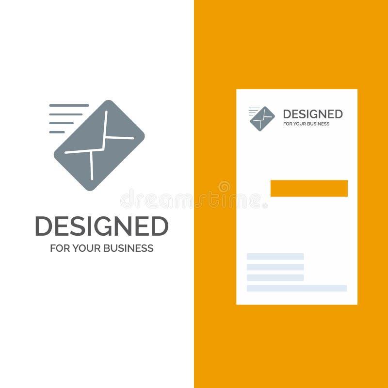 电子邮件,邮件,信息,传送灰色商标设计和名片模板 皇族释放例证