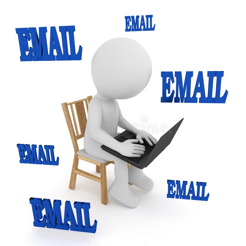 电子邮件-演奏计算机的人们 3d?? 库存例证