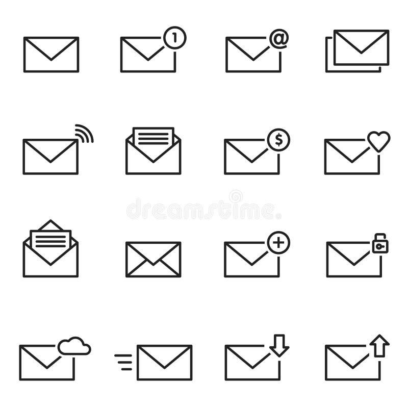 电子邮件信封线象集合 消息例证 皇族释放例证