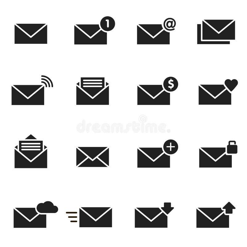 电子邮件信封黑色象集合 消息例证 库存例证