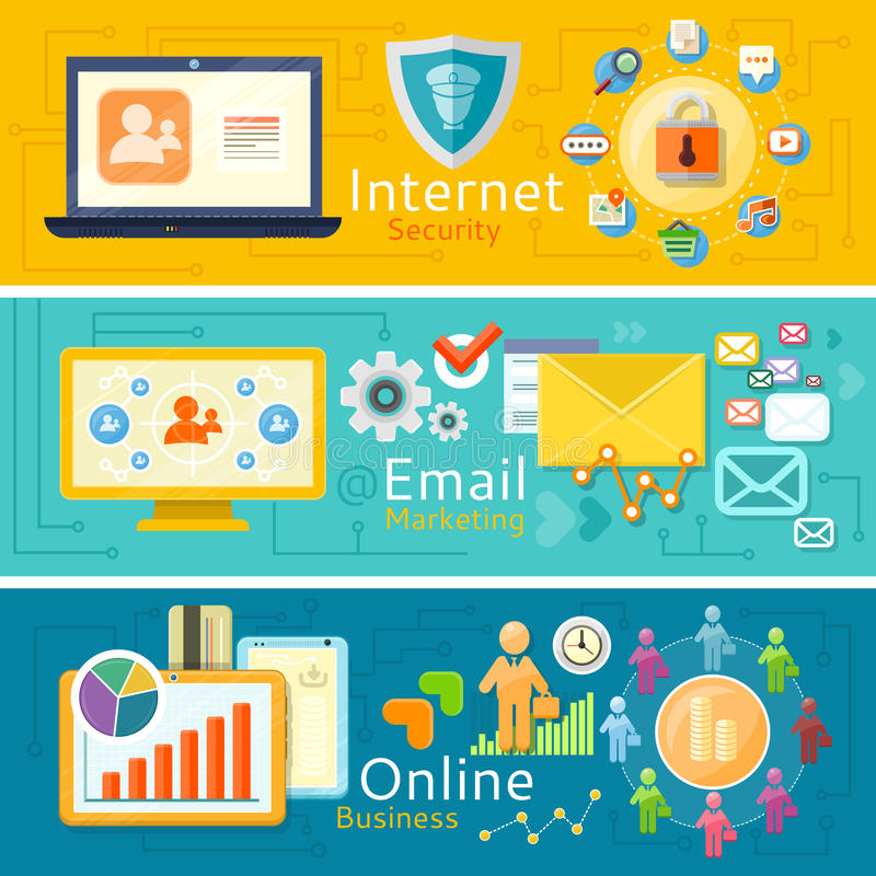 电子邮件营销、网上事务和互联网 向量例证