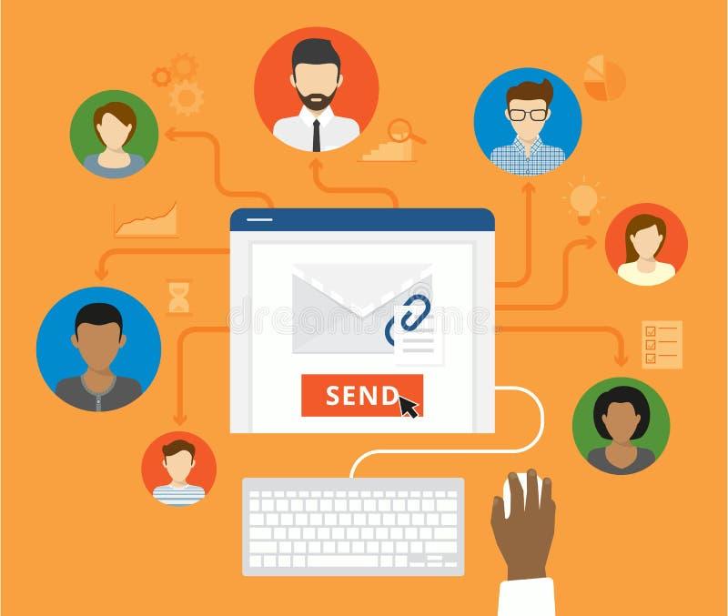 电子邮件营销和公司概念 库存例证