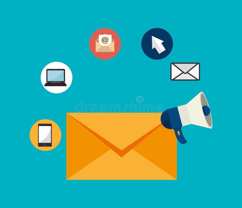 电子邮件营销设计,传染媒介例证 向量例证