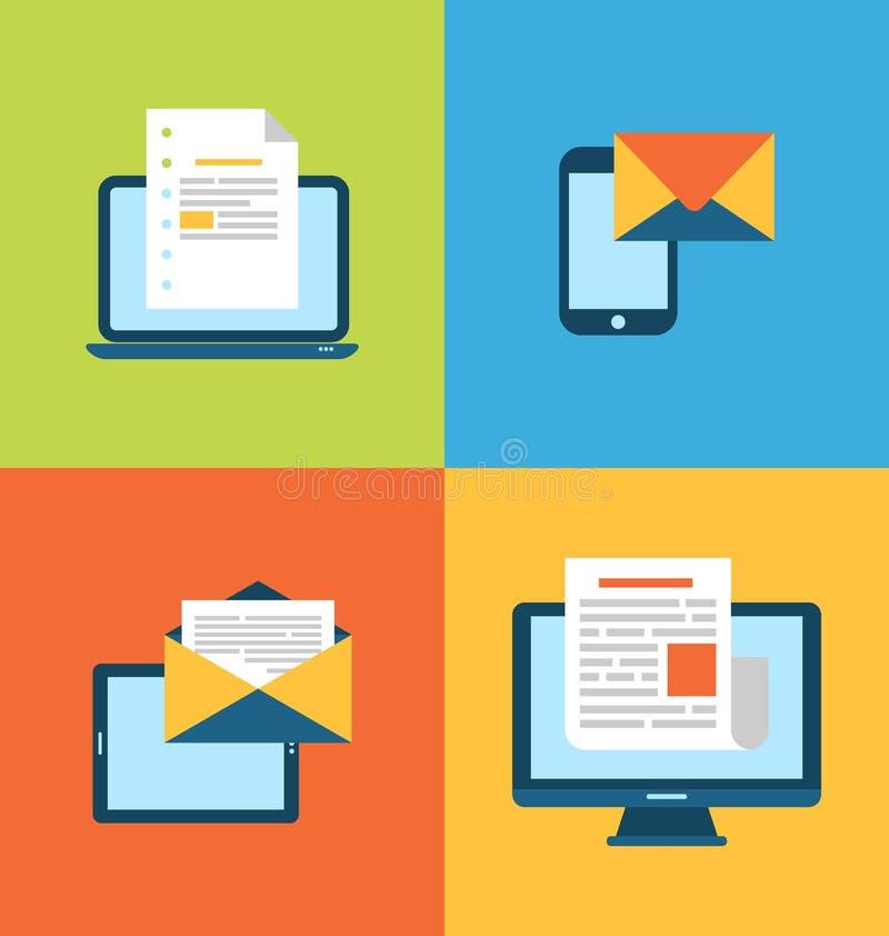 电子邮件行销的概念通过电子小配件 库存例证