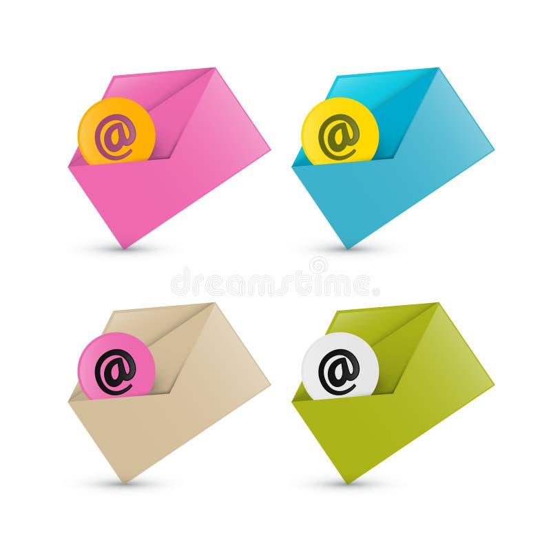 电子邮件,电子邮件象,四个信封集合 皇族释放例证