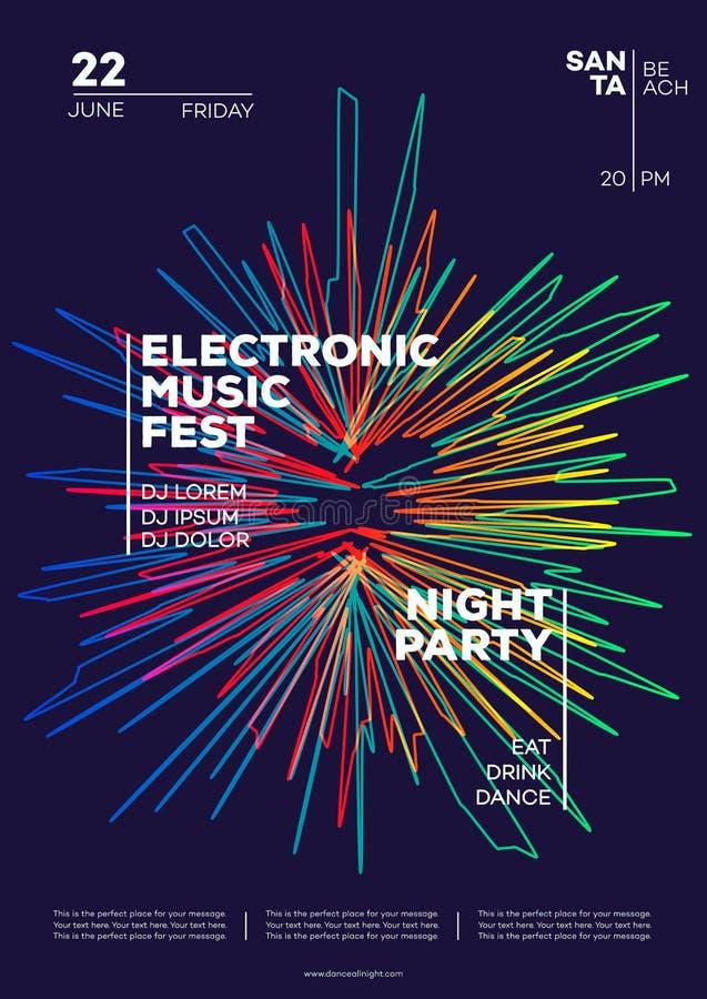 电子音乐党海报 时髦俱乐部党飞行物现代梯度最低纲领派样式 向量例证