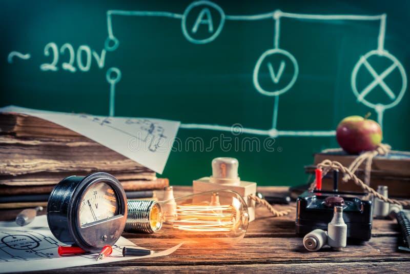 电子经验在物理实验室 免版税库存照片