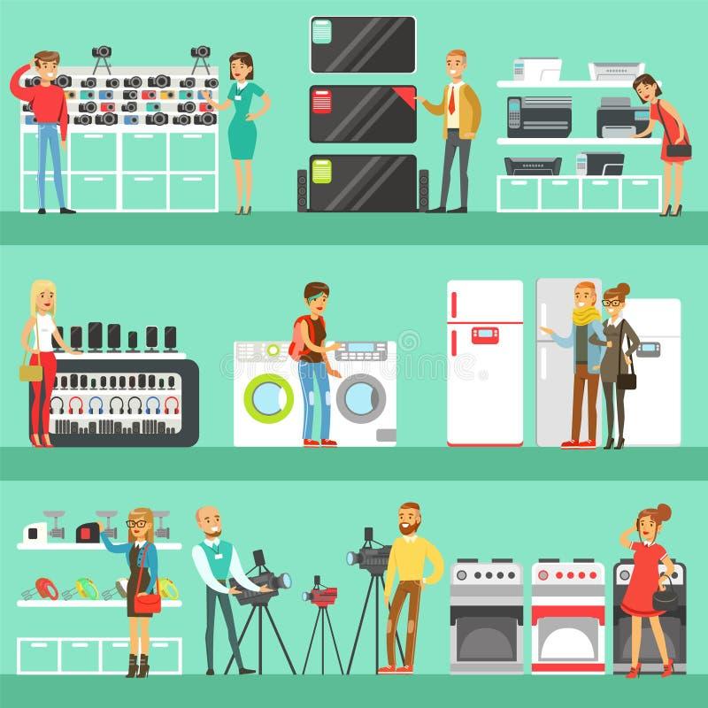 电存储器购物的愉快的人选择与售货员帮助套的国内设备的动画片 库存例证