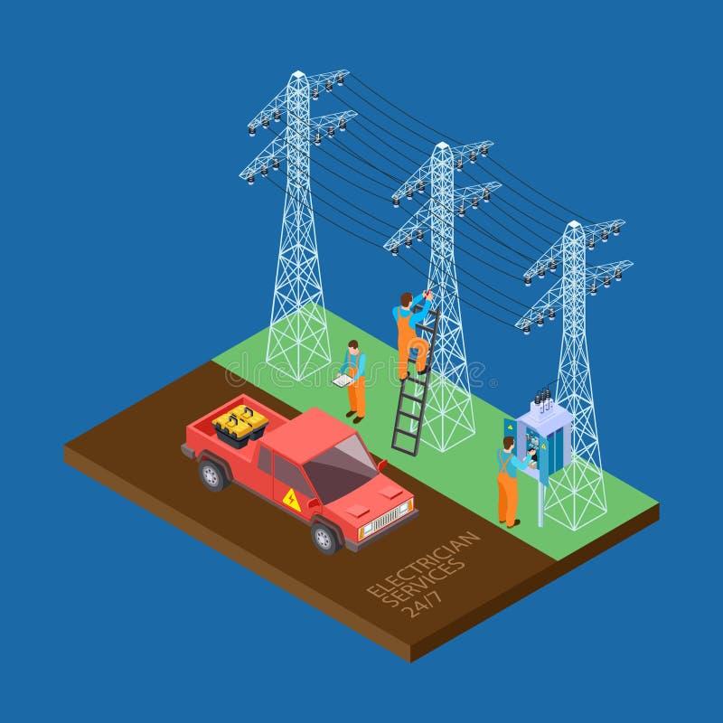 电工城市服务3d等量传染媒介构成 皇族释放例证