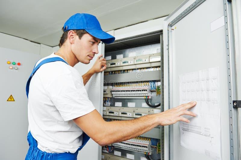 电工工作者检查 免版税图库摄影