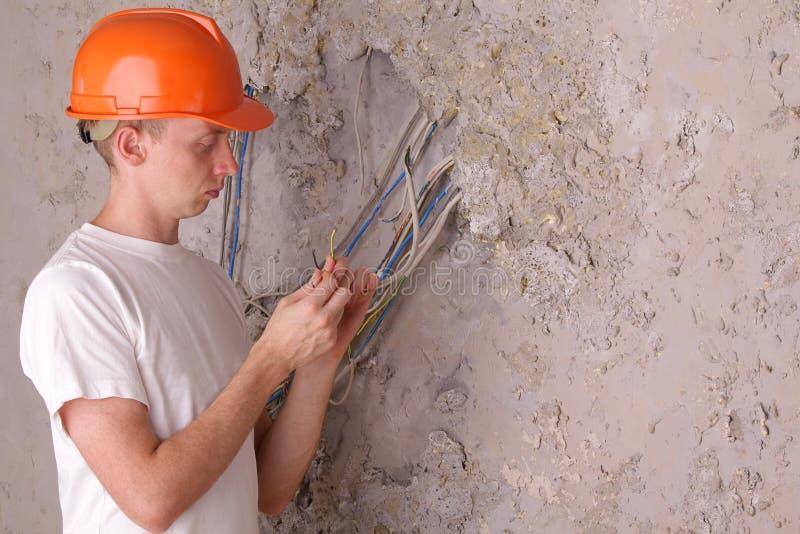 电工房子维修服务工作 免版税图库摄影